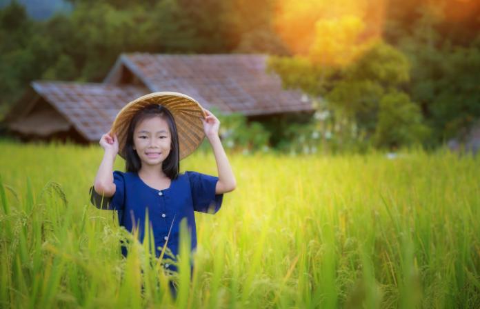 A local girl in Malaysian farm